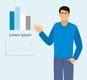 Une illustration d'un mâle faisant un signe parfait et dirigeant à l'des graphiques Illustration Stock