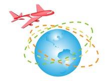 Une illustration d'un vol plat autour du monde photographie stock