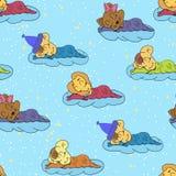 Une illustration de bande dessinée du dessin sans couture de main de modèle de l'bébés de sommeil de sourire Approprié à la pièce illustration stock