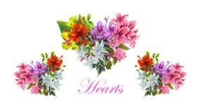 Une illustration de bouquets de forme de coeur Images libres de droits