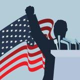 Une illustration de silhouette de position de vecteur avec le drapeau national des Etats-Unis d'Amérique illustration libre de droits
