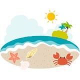 Une illustration de vecteur de côté de plage avec le goût mignon Image stock