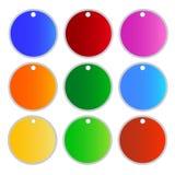 Une illustration des étiquettes de cercle de couleurs de Muti Photos stock