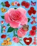 Une illustration des fleurs rouges et roses qui peuvent être employées pour le papier peint, le fond ou les autocollants Photo libre de droits