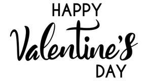 Une illustration simple des textes de la typographie heureuse de jour du ` s de Valentine dans le noir Photographie stock libre de droits