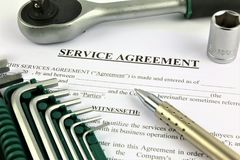 Une image de concept d'un contrat de service, travail photographie stock