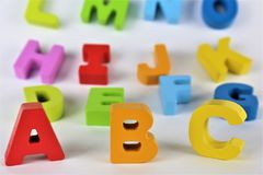 Une image de concept des lettres d'ABC, pré école, jouet, alphabet image stock