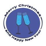 Une image de deux verres de champagne Noël et la nouvelle année Photographie stock libre de droits