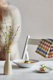Une image de soupe à crème sur la table Photographie stock