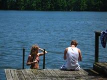 Une immersion dans le lac Photographie stock