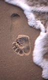 Une impression de pied allant être couvert par l'eau Photographie stock