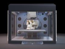Une imprimante 3d imprimant un crâne Illustration de Vecteur