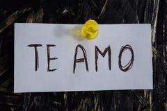 Une inscription simple et compréhensible, je t'aime dans l'Espagnol Photos libres de droits