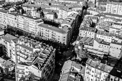 Une intersection à Turin, Italie Images stock