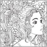 Une jeune belle fille avec une guirlande des fleurs sur sa tête illustration stock
