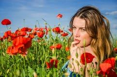 Une jeune belle fille gaie marche dans un pré de pavot parmi les pavots de floraison de rouge un jour lumineux, chaud, ensoleillé Photos libres de droits