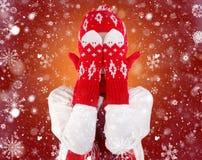 Une jeune femme dans un chapeau, une écharpe et des mitaines tricotés Configuration rouge et blanche Il a couvert son visage de g photographie stock libre de droits