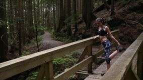 Une jeune femme pulsant dans le cadre, s'arrêtant sur un pont en bois dans une forêt à feuilles persistantes, s'étendant, et puis banque de vidéos