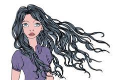 Une jeune fille avec onduler longtemps dans les cheveux de vent Illustration de portrait de vecteur, d'isolement sur le blanc illustration stock
