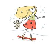 Une jeune fille avec un ours de nounours dans les mains des tours sur la planche à roulettes illustration de vecteur