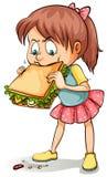Une jeune fille avec un sandwich illustration stock