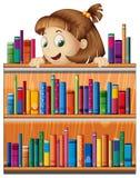 Une jeune fille espiègle dans la bibliothèque illustration de vecteur