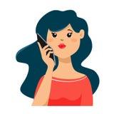 Une jeune fille est parler mignon à un téléphone portable Isolat de fille de vecteur sur le fond blanc illustration de vecteur