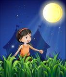 Une jeune fille heureuse observant la lune illustration de vecteur