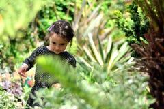 Une jeune fille parmi des usines dans un jardin urbain Image stock
