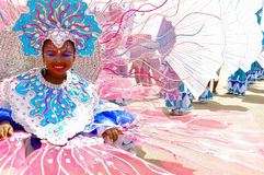 Une jeune fille utilise un costume dépeignant le récif de Buccoo au Tobago en tant qu'élément de l'héritage sous-marin culturel n