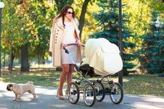 Une jeune mère marche avec un enfant et un chien photo stock