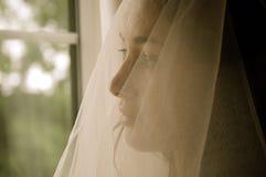 Une jeune mariée inquiétée Images libres de droits