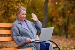Une jolie femme adulte en parc d'automne s'assied sur un banc et avec qui elle communique sur un ordinateur portable outside Photo libre de droits