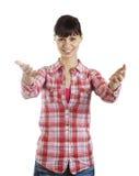 Jeune femme bienvenue de geste Photo stock