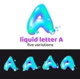 Une lettre est un logo d'aqua Lettre volumétrique liquide avec des gouttelettes et des pulvérisateurs pour le style d'entreprise  Images stock