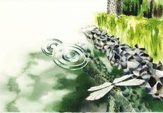 Une libellule sur la rivière Illustration de Vecteur