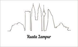 Une ligne illustration de croquis de Kuala Lampur de style d'isolement sur le fond blanc illustration stock