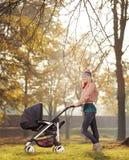 Une mère de sourire posant avec une poussette de bébé en parc en automne Photos libres de droits
