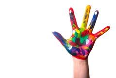 Une main colorée avec l'espace de copie Photo libre de droits