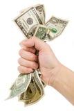 Une main complètement de dollars US Image stock