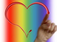 Une main dessinant un coeur Photo libre de droits