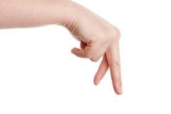 Une main femelle affichant les doigts de marche. Image libre de droits