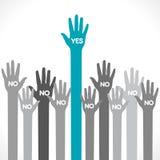 Une main indiquent oui le concept  Image libre de droits
