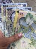 Une main tenant des billets de banque de Lei qui est actualité de la Roumanie images libres de droits