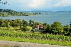 Une maison avec vue sur le Lac de Constance photos stock