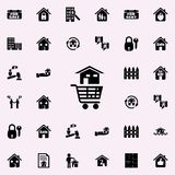 une maison dans un chariot de l'icône de magasin Ensemble universel d'icônes d'immobiliers pour le Web et le mobile illustration stock