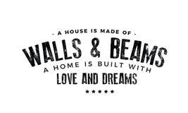 Une maison est faite de murs et faisceaux illustration libre de droits
