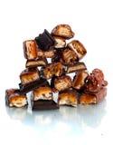 Une montagne des bars de chocolat Photo stock