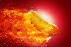 Une mouche de burning de porc de BBQ de hot dog Photos stock