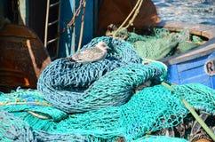 Filets de pêche et équipement Photos libres de droits